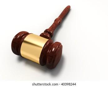 Wooden justice gavel on white background - 3d render