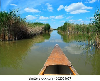 Wooden kayak on Neusiedler See, Lake Neusiedl. Rust, Burgenland, Austria.