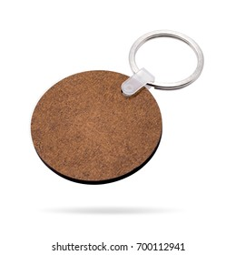 Wooden key ring isolated on white background. Key chain for your design. Clipping paths object. ( Circle or round shape )