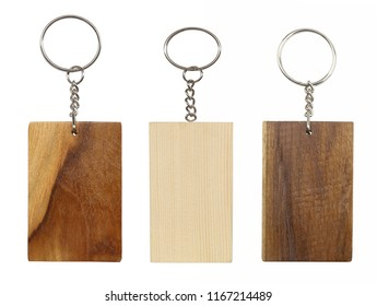 Wooden keychains isolated on white background.