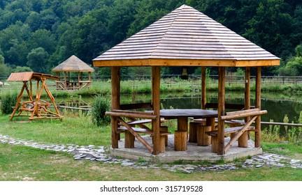 Wooden kiosk near the lake