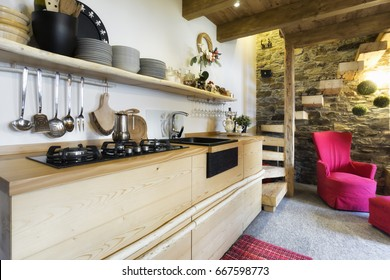 wooden kitchen in a country style cottage