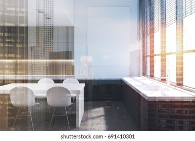 Wooden kitchen interior with a white table with chairs, marble countertops and a row of wooden cupboards. A vertical poster on a wall. 3d rendering mock up toned image double exposure