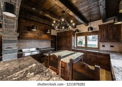 Wooden kitchen room