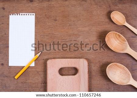 Wooden Kitchen Spoons On Oak Wood Stock Photo (Edit Now