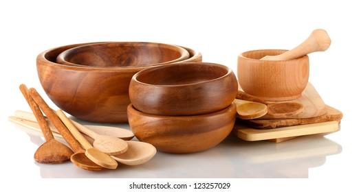 Wooden kitchen utensils isolated on white