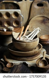 Wooden kitchen ware on a wooden background. wooden eco-ware. selective focus