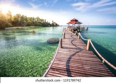 Wooden in Koh Kood in Thailand, this immage can use for travel, sea, sand, beach, summer, thailand, phuket and island concept