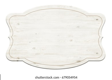 Wooden label isolated over white background
