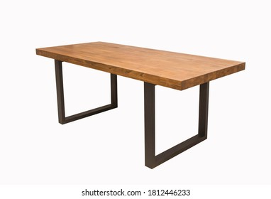 wooden lacquered table with black metal legs on white background standing at an angle of 45 degrees