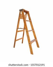 wooden ladder on white background. Step Ladder. - Image