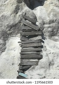 Wooden ladder on white rock in Labrador, Canada