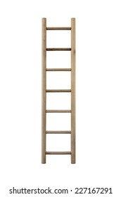 Wooden ladder, vertical isolated stepladder, detailed closeup.