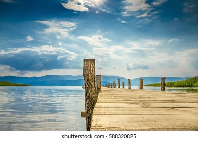 Wooden Lake Deck, Krani Beach, Prespa, Macedonia