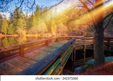Wooden Lake Deck Scenery. Scenic Lake Fulmor in California Idyllwild Mountains.