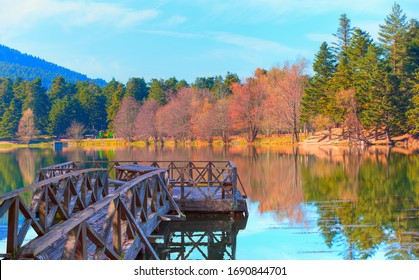 Wooden Lake house inside forest with old pier - Bolu Golcuk National Park