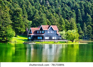 Wooden Lake house inside forest in Bolu Golcuk National Park, Bolu, Turkey