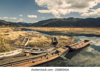 "Wooden lakes in China ""lugu Lake"""