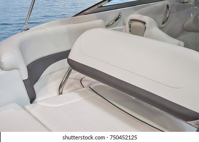 Wooden and leather Interior of luxury yacht. Cockpit of yacht at sea