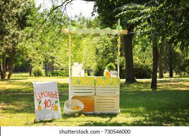 Wooden lemonade stand in park