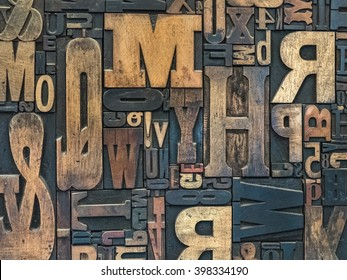 Wooden letter set of a old printing house