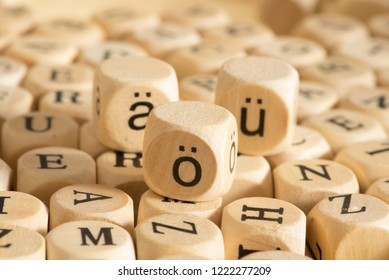 Wooden letters and closeup of german umlauts