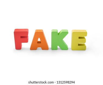 Wooden letters on white background - concept of fake information. Counterfeit and misinformation. Front view of colorful word FAKE isolated on white. False news. Distorted picture of situation