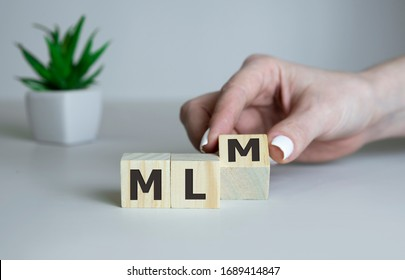 Wooden letters spelling MLM, business mlm concept.