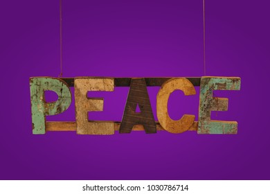 Wooden with letters and word. Peace - text on wooden texture grunge table background. Natural wood. Hippies