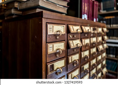 Wooden library card catalog cabinets