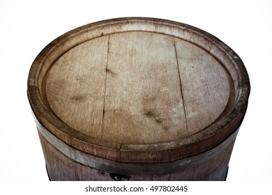 Wooden light barrel isolated on a white background. Toned.