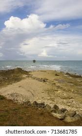 Wooden lighthouse in the Atlantic ocean, Pointe des Minimes, La Rochelle, France