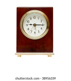 Wooden little classic-style clock isolated over white