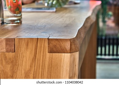 Wooden live edge table in solid oak. Solid oak counter top. Live edge counter top