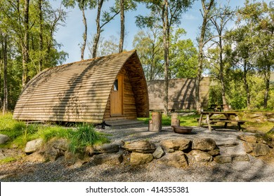 Wooden log cabin also know as wigwam often used as a holiday lodge for glamping holidays