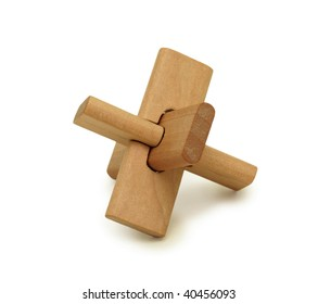 Wooden logical toy, isolated on a white background