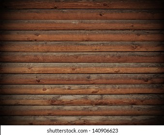 Wooden logs wall of rural house background