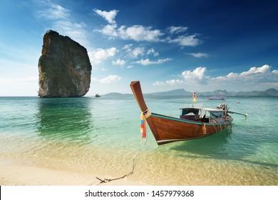 wooden longtail boat at Koh Poda island in Krabi province. Ao Nang, Thailand