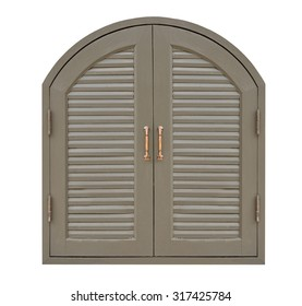 Wooden louver window isolated on white background