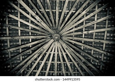 A wooden made ceiling design isolated object unique photo