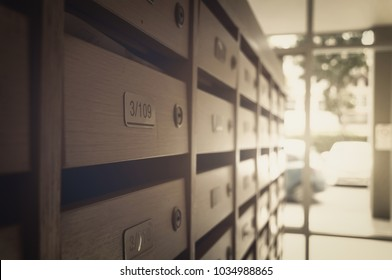 wooden mailbox pattern with lockable center in business corporate