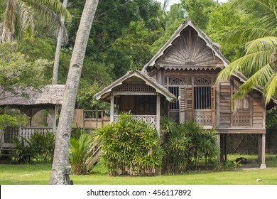 A wooden Malay village house on stilts, Malaysia.
