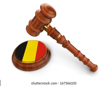 Wooden Mallet and Belgian flag (clipping path included)