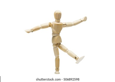 The wooden man dancing isolated white background