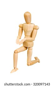 wooden man human makes shows expressive emotional action on a white background