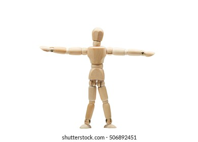Wooden man practices yoga workout, isolated white background