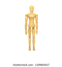 Wooden Manikin Action Model Human on a white background and Clipping path.