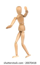 A wooden mannequin