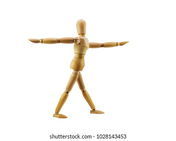 Wooden mannequin Do yoga exercises as an example to follow on white background and clipping path.