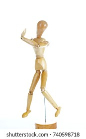 Wooden mannequin drawing model human shape. Doll human body figurine statue pose posing to illustrate human body positures for draw class or every concept.